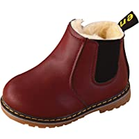 NINGQIUPI Unisex Baby Winter Martin Boots Casual Shoes Hiking Snow Boots with Fur Lined