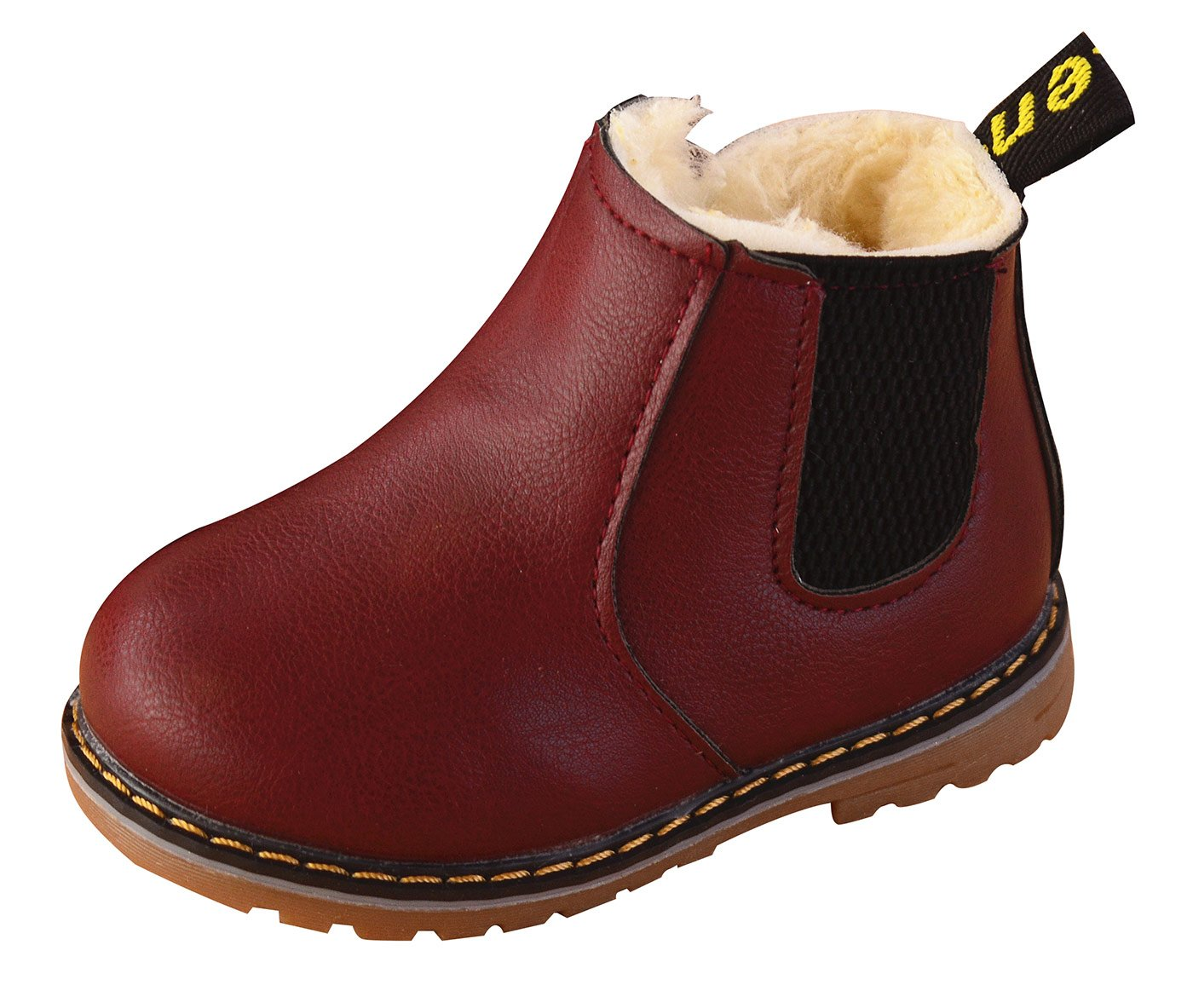 Happy Cherry Anti-slip Children Martin Boots Fur Lined Boys Girls Martin Sneaker Boots Baby Casual Shoes Size 25 Wine Red