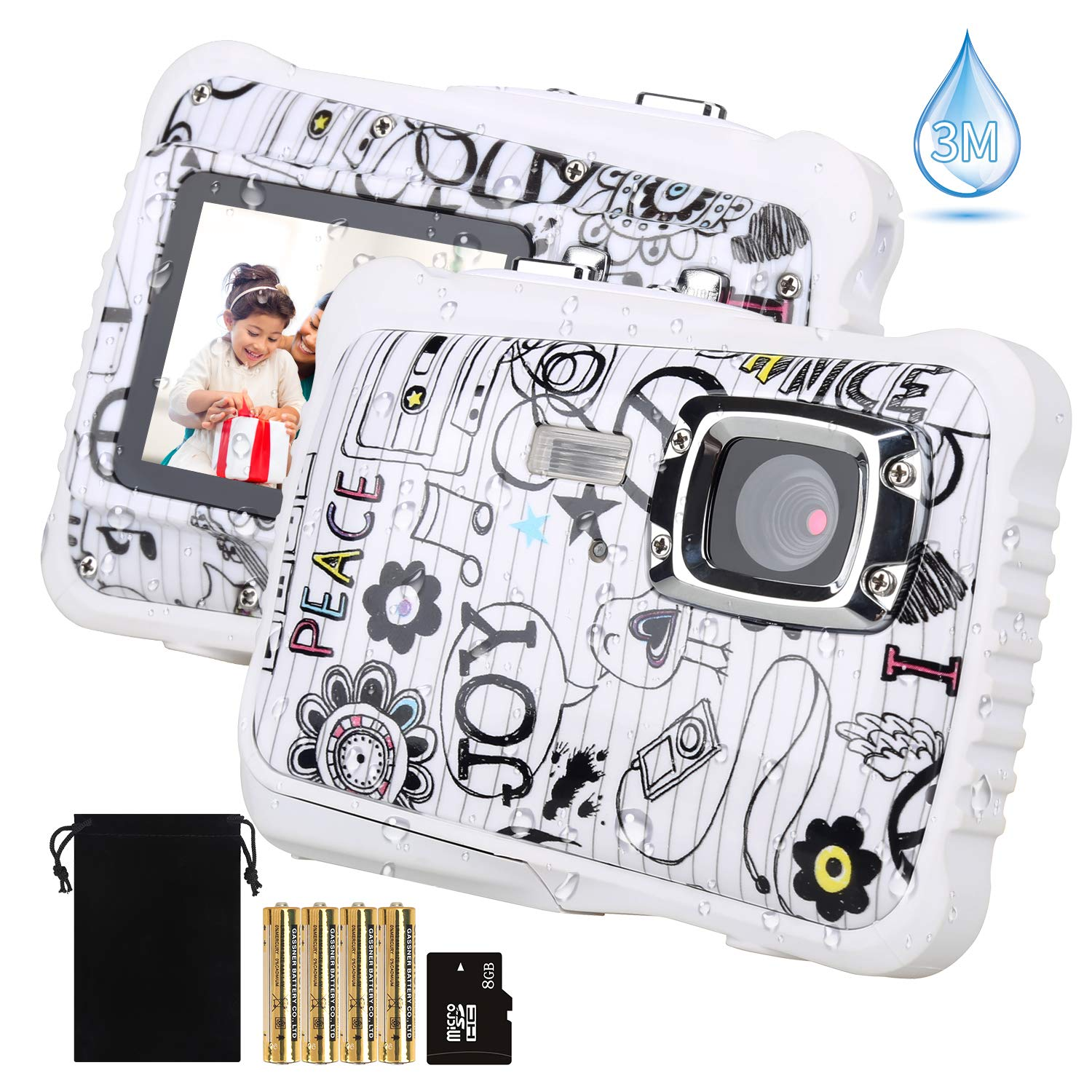 【2019 Newest Kids Camera】 Kids Camera, Waterproof Digital Camera for Children, 12MP HD Underwater Camcorder with 3M Waterproof, 2.0 Inch LCD Screen, 8X Digital Zoom, Flash Mic and 8G SD Card by UNIONDA