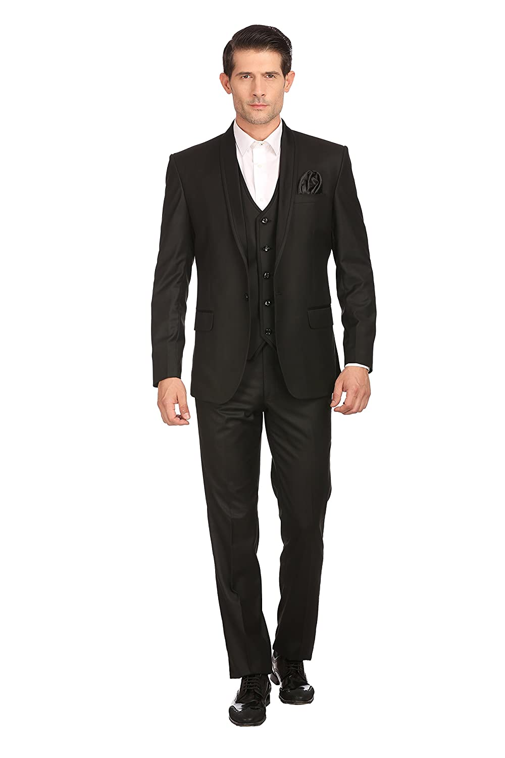 Satin Shawl Collar Partywear Men's 3 Piece Suit