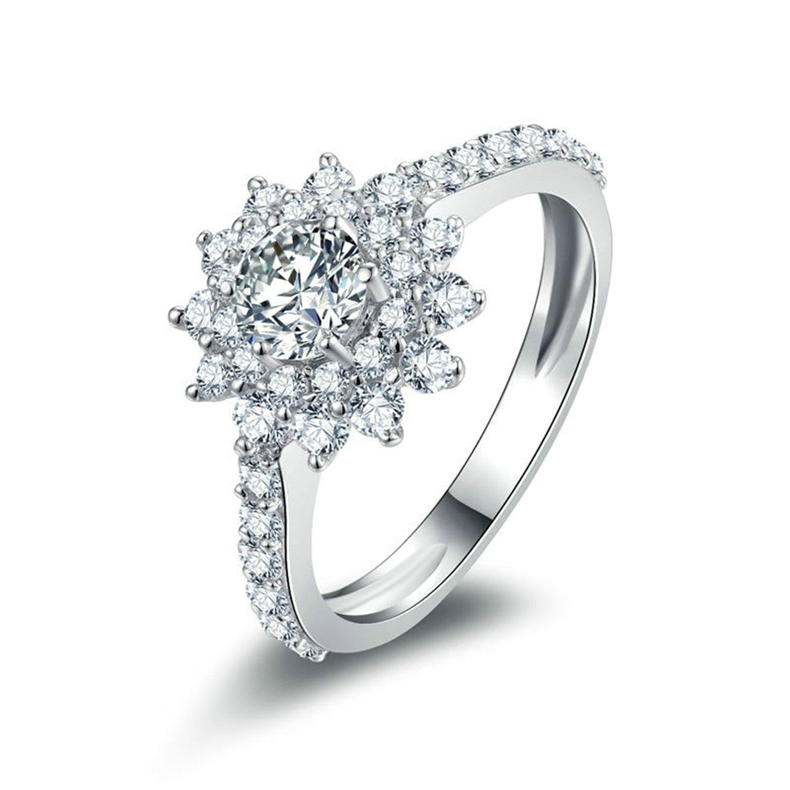 Daesar Anniversary Rings Stackable 6-Prong Setting Round Crystal Flower Ring Ring Size 5.5