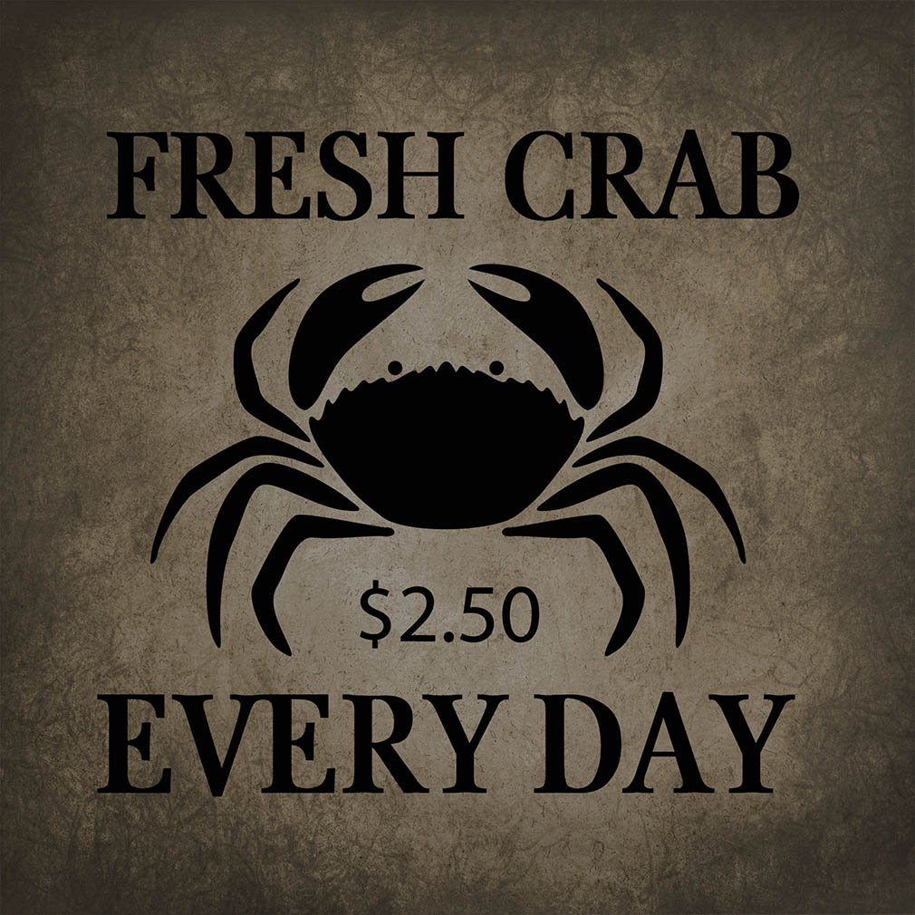 ''Fresh Crab Every Day #2'' Funny Relax Novelty Metal Sign Wall Decor Dark Grey Background by Fastasticdeals (Image #1)
