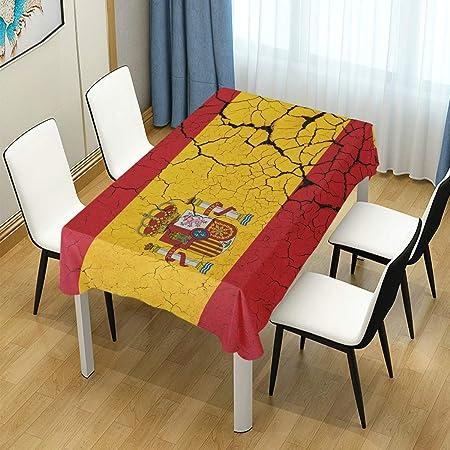 LIUBT - Mantel rectangular con diseño de bandera española retro para bodas, fiestas, comedor, picnic, cocina, lavable, 150 x 120 cm: Amazon.es: Hogar