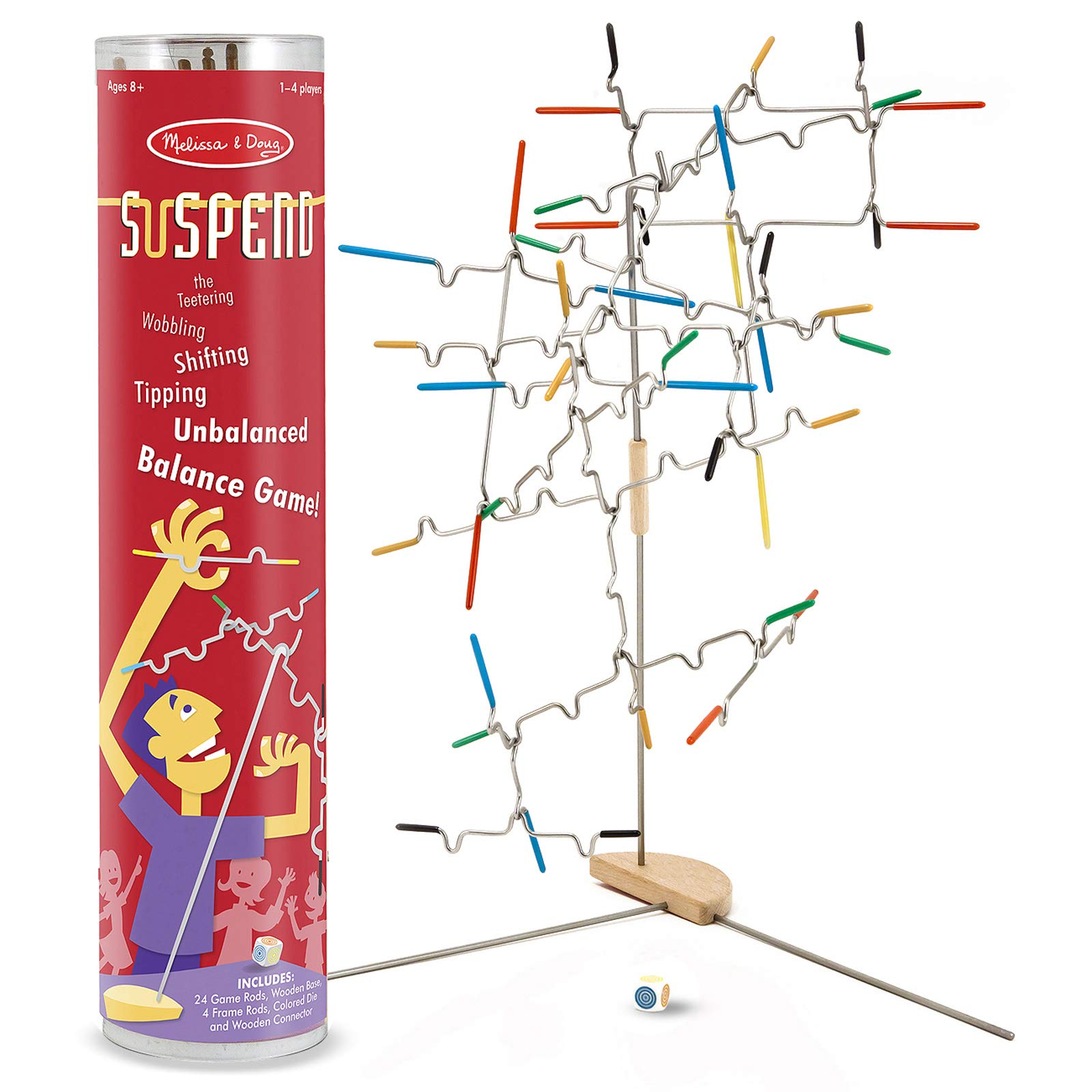 Melissa & Doug Suspend Family Game, Classic Games, Exciting Balancing Game, Develops Hand-Eye Coordination, 12.5'' H x 2.8'' W x 2.8'' L by Melissa & Doug