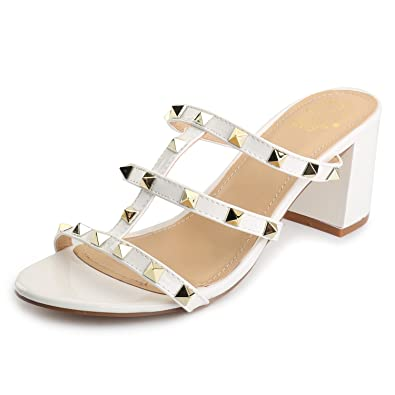 Alexis Leroy Modern Nieten Riemchensandalen Damen Slingback Pantoletten  Sandalen mit Absatz Weiß 40 EU 6e815be017