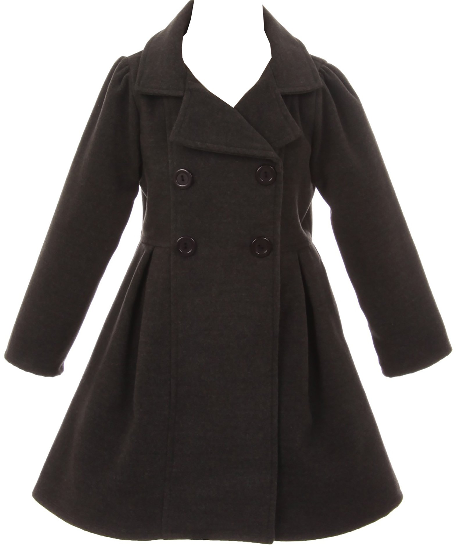 Girl Winter Dress Coat Long Sleeve Buttons and Pockets For Big Girl Charcoal 8 J2049