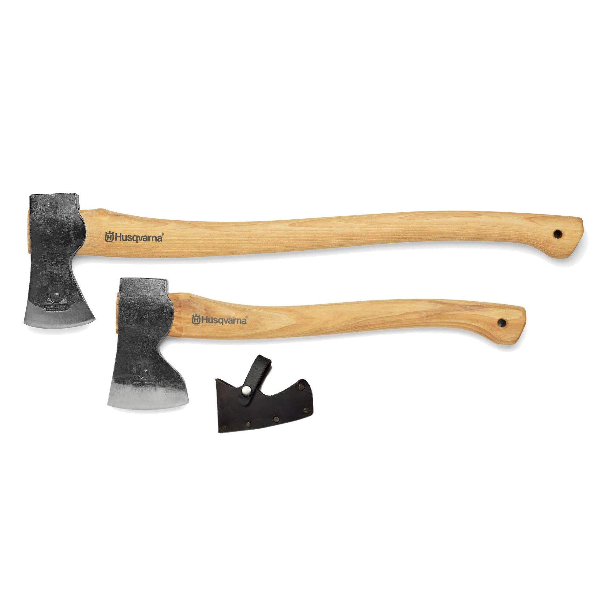 Husqvarna 26'' Curved Hickory Handle Logger Forest Axe with 19'' Carpenters Axe