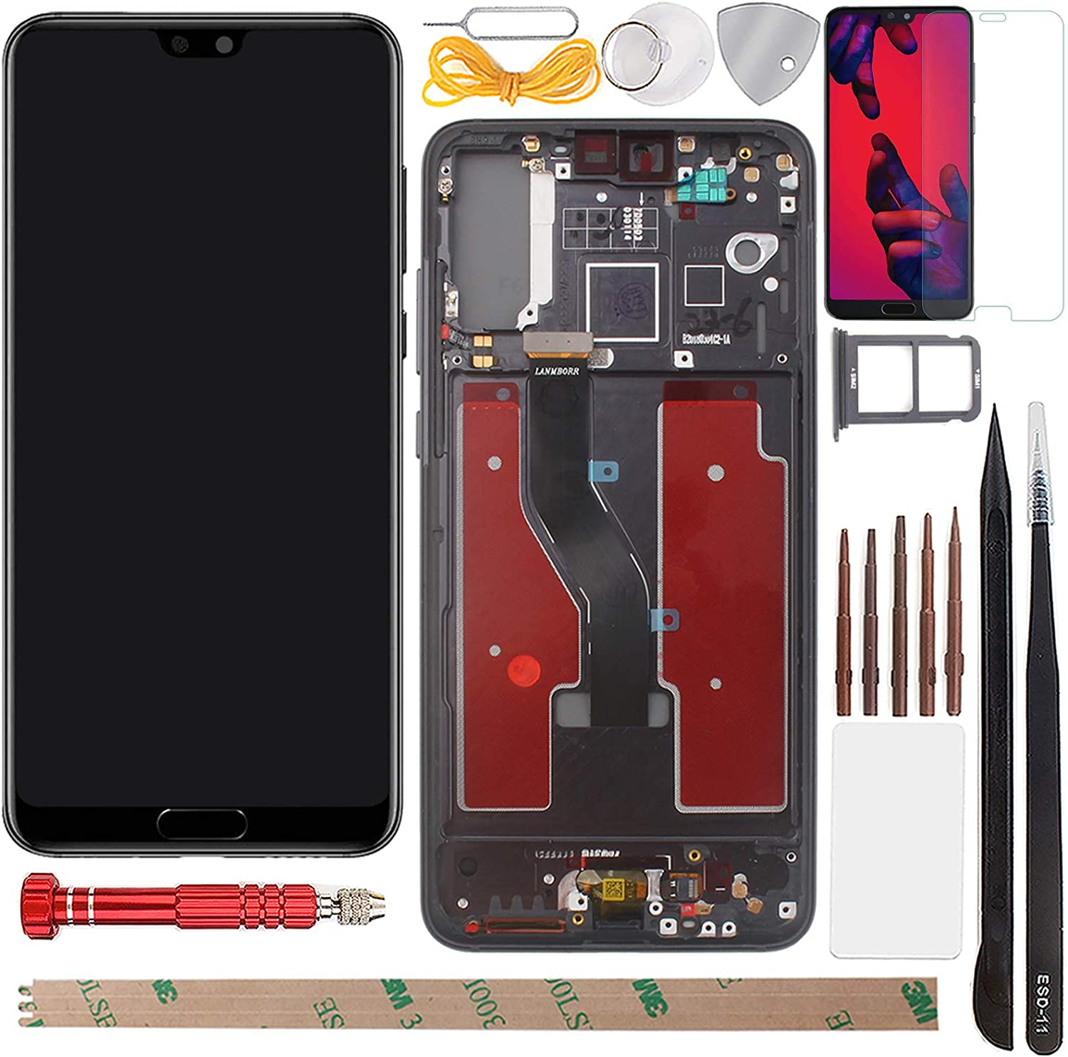 YHX-US Screen Replacement LCD Display Touch Screen Digitizer Assembly with 1 Piece Screen Protector&SIM Card Tray Suitable for Huawei P20 Pro CLT-L09 CLT-L29 CLT-AL00 CLT-AL01 2018 6.10