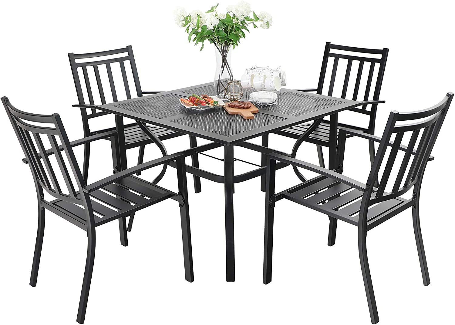 MFSTUDIO 5PCS Patio Dining Table Set 4 Stackable Metal Slat Armrest Chairs and 1 Square Metal Table Outdoor Furniture Sets for Backyard Lown Garden