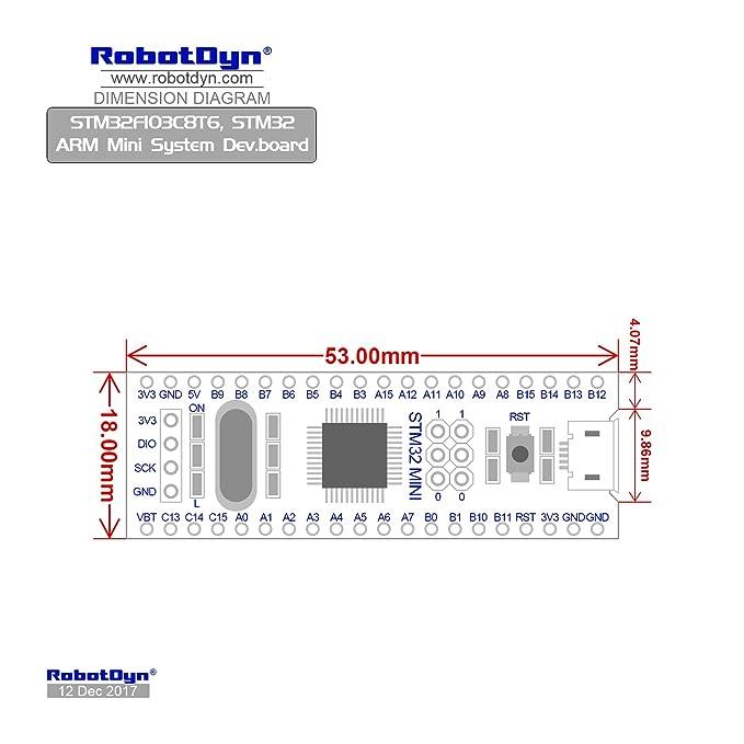 RobotDyn - STM 32 with ARDUINO BOOTLOADER, STM32F103C8T6 ARM Cortex-M3  Minimum System Development Board  Pinheaders Soldered