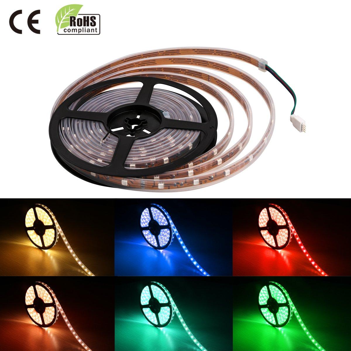 Lighting Ever Waterproof Rgb 5050 Led Strip Light164 How To Build Multicolor Hd Light164ft 5m Multicolor150ledssuper Brightcolor Changeflexiblediy Lightingunder Cabinet