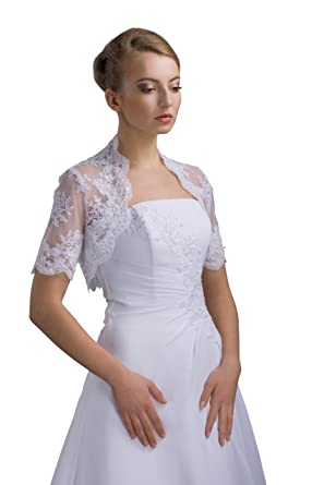 Braut Bolero Jacke bestickte Spitze zum Brautkleid - E86: Amazon.de ...