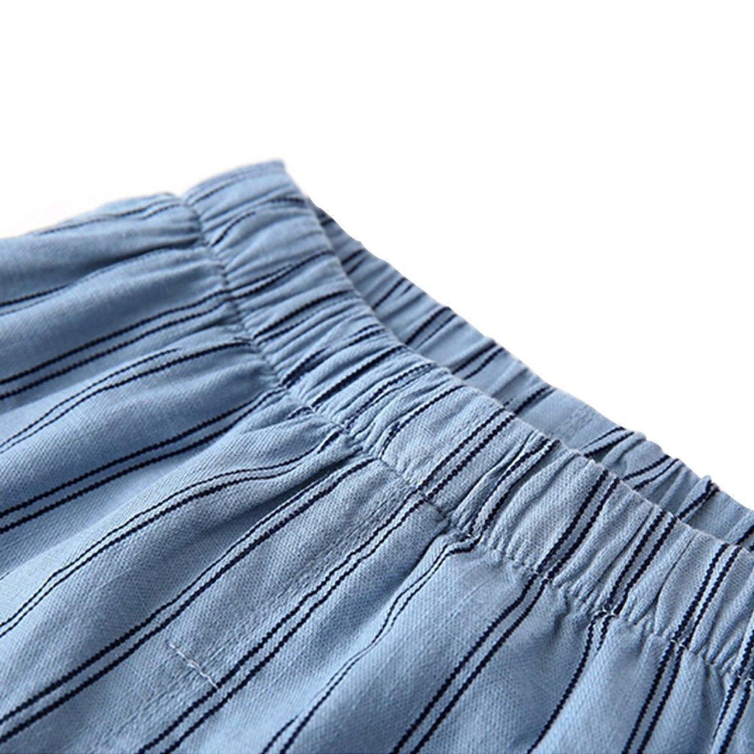 PAUBOLI Boys Button Down Pajamas Set Short Sleeve Organic Cotton Striped Sleepwear Loungewear (6-7 Years) by PAUBOLI (Image #6)