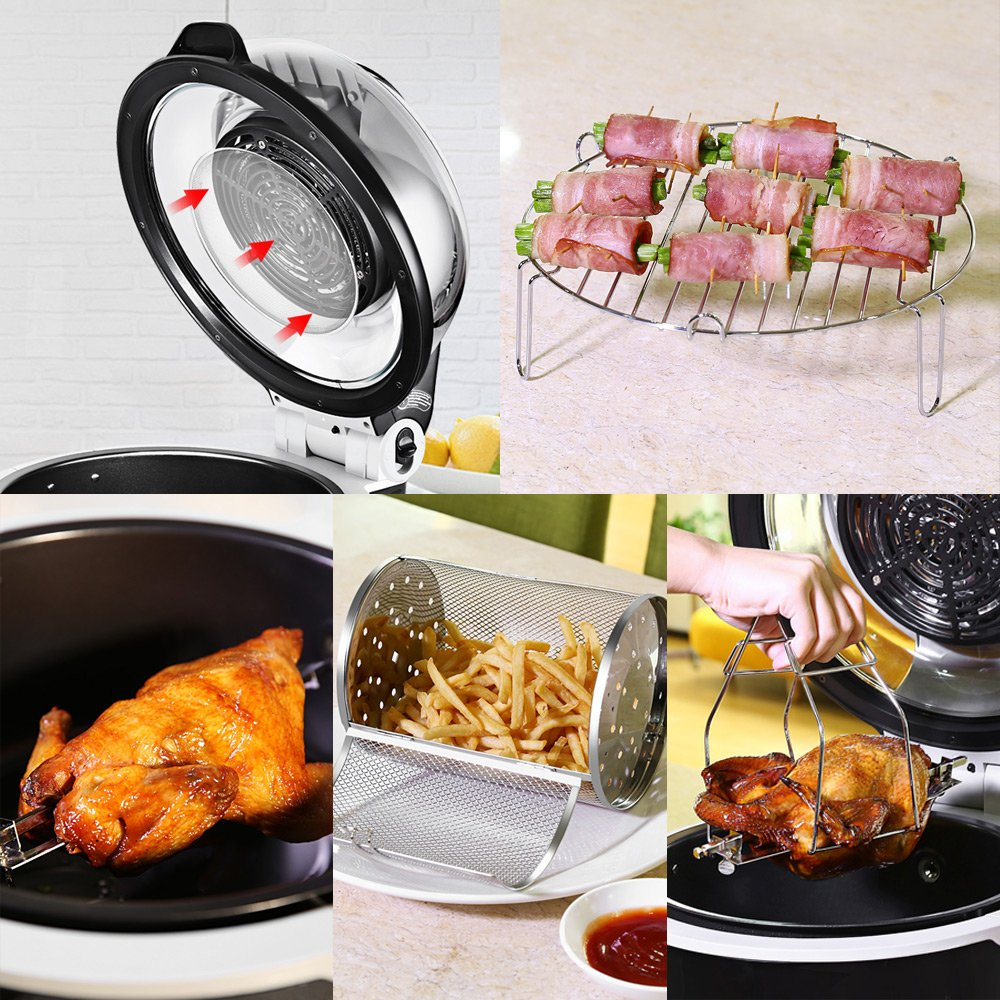 Tinychefs Multifunctional Airfryer, Oil-Less Airfryer 10 litres Health Halogen Turbo Hot Air Fryer Multi Grill Oven Temperature Control No Splatter by Tinychefs (Image #4)