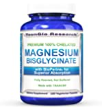 Chelated Magnesium Glycinate plus BioPerine for Superior Absorption - 180 Vegetarian Capsules (1 Pack)