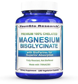 Magnesium Glycinate Plus BioPerine - 180 Vegan Non-GMO Capsules - 100% Pure Chelated