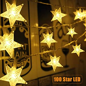 Star String Lights 100 LED 33 FT Plug in Fairy Bedroom Twinkle Lights Waterproof Extendable for Indoor Outdoor Wedding Party Christmas Tree New Year, Garden Decoration Warm White