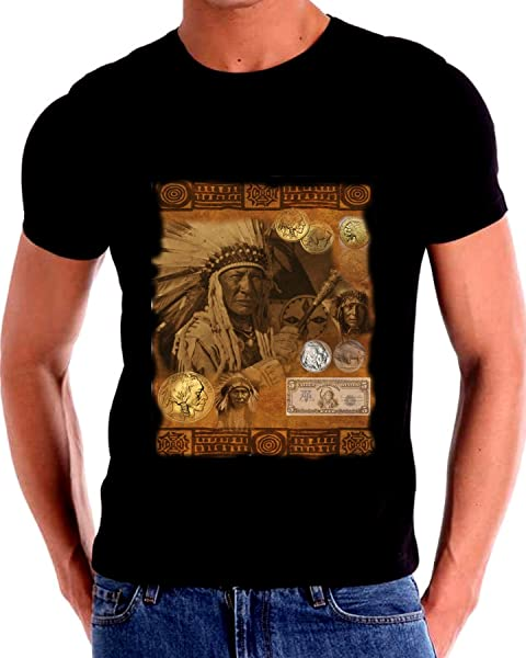 Gatsbe Exchange Running Antelope Native American Five Dollar Bill Nickel T Shirt Art Collage