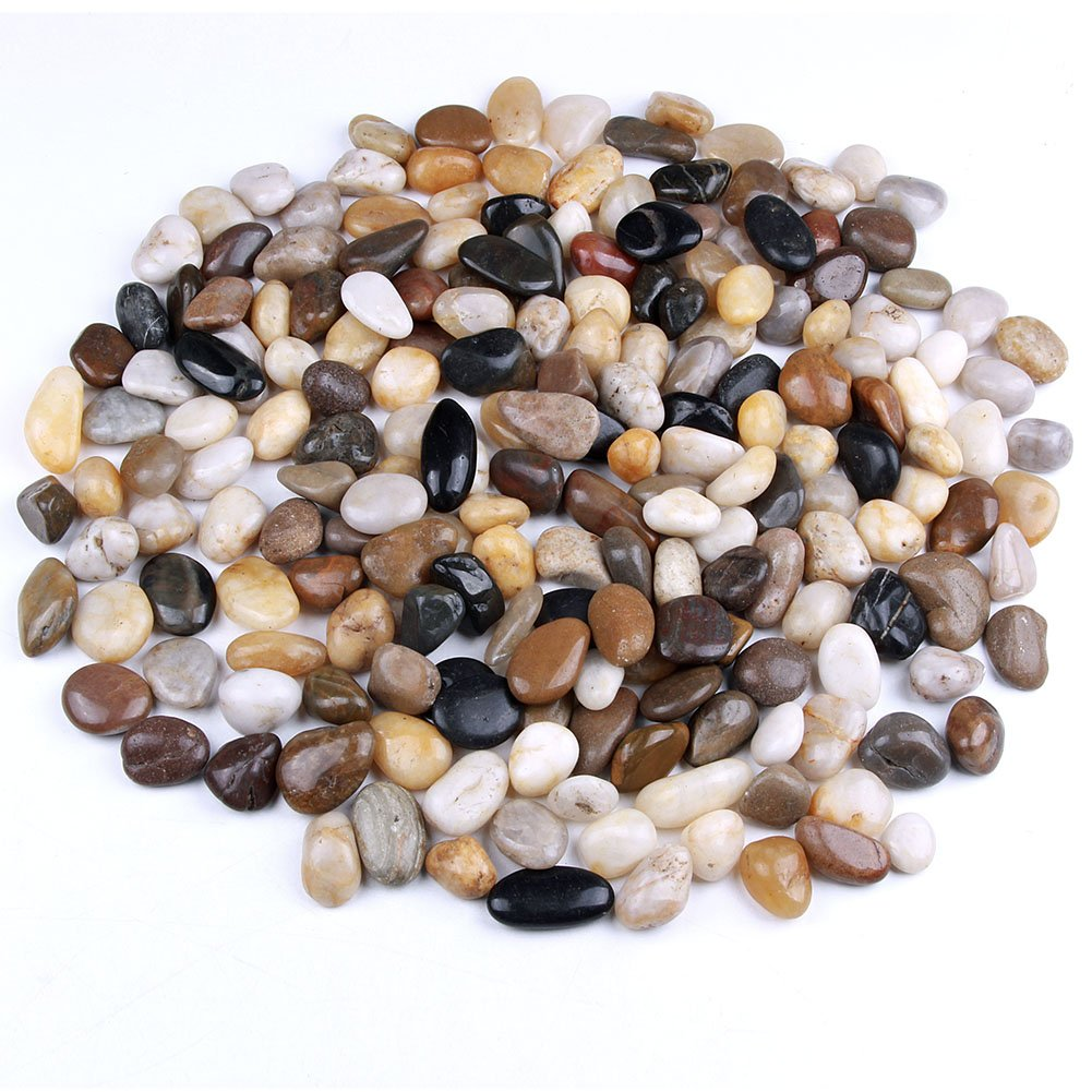 skullis 5 Pounds River Rocks, Pebbles, Garden Outdoor Decorative Stones, Natural Polished Mixed Color Stones by skullis