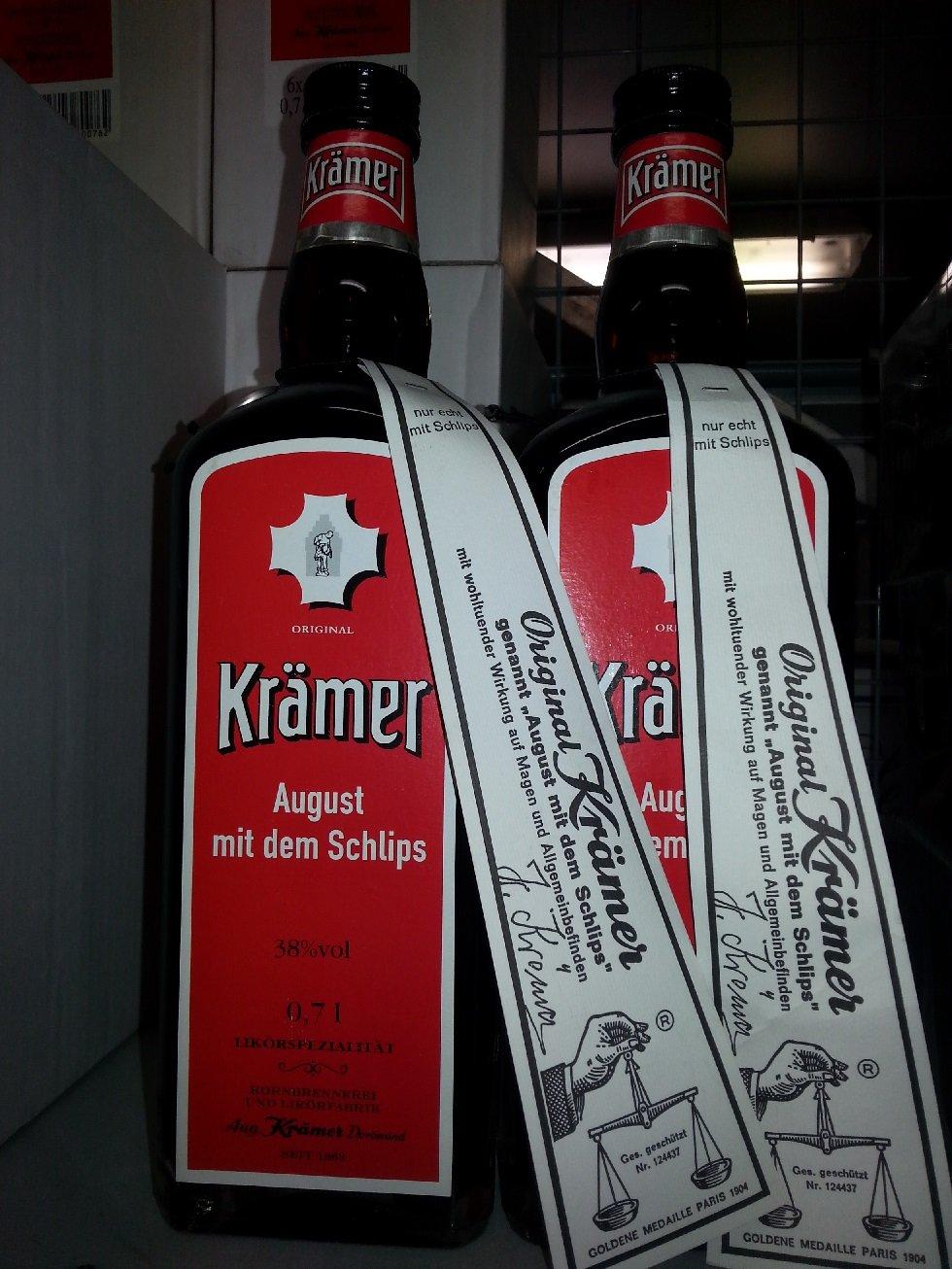 6 Flaschen Orginal Krämer August mit Schlips a 0,7l 38% Vol ...