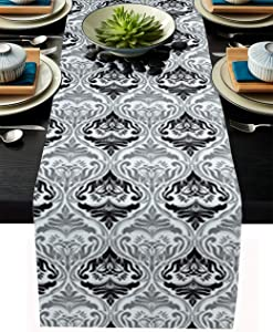 """Table Runner Dresser Scarves, Burlap Dining Table Cloth Dresser Runners for Farmhouse Home Kitchen Holiday Parties Table Decor, Black Gray Brocade Vintage Floral Pattern Baroque Damask 13""""x120"""""""