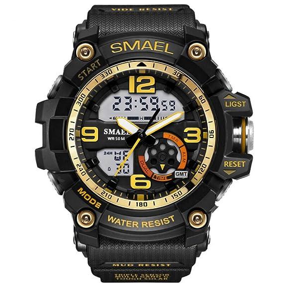 imperiu hombre elegante reloj digital analógico deporte electrónico de doble cuarzo movimiento con retroiluminación: Amazon.es: Relojes