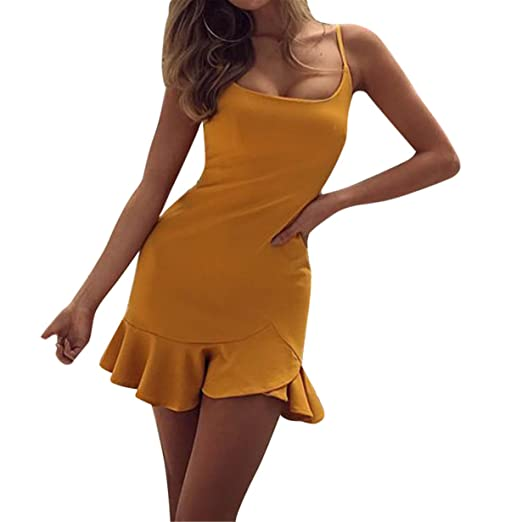 Moda Vestido Mujer Atractivo Mini Verano Sin Mangas de Cremallera Irregular Con Volantes de Color sólido/Ropa Para Fiesta/ Casual: Amazon.es: Ropa y ...