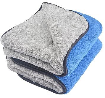 KinHwa 720 gsm doble capa coche paños toalla ultra grueso toallas de auto microfibra de limpieza de polaco para lavar el coche 40cmx60cm 2 pieza ...