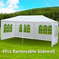 go2buy 10' x 20' White Heavy Duty PE Water Resistant Party Wedding Tent Carport Canopy with 4 Pcs Removable Sidewalls
