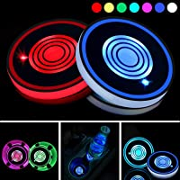 Car Cup Holder with RGB Les Lights, 2 x Colorful LED Car Cup Carpets Mat Pad With Waterproof Bottle Drinks Coaster Built…