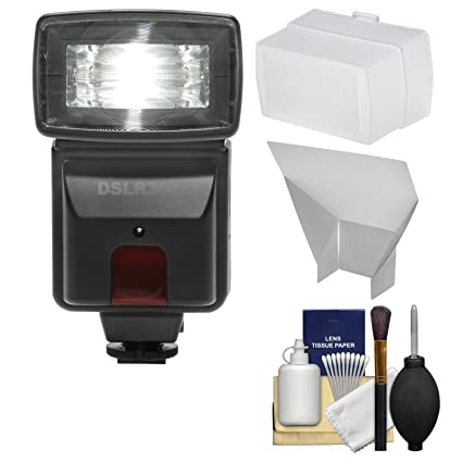 Precision Design DSLR300 High Power Auto Flash with Diffuser + Reflector +  Kit for Canon EOS 70D, 7D Mark II, Rebel T3, T3i, T5, T5i, T6i, T6s, SL1
