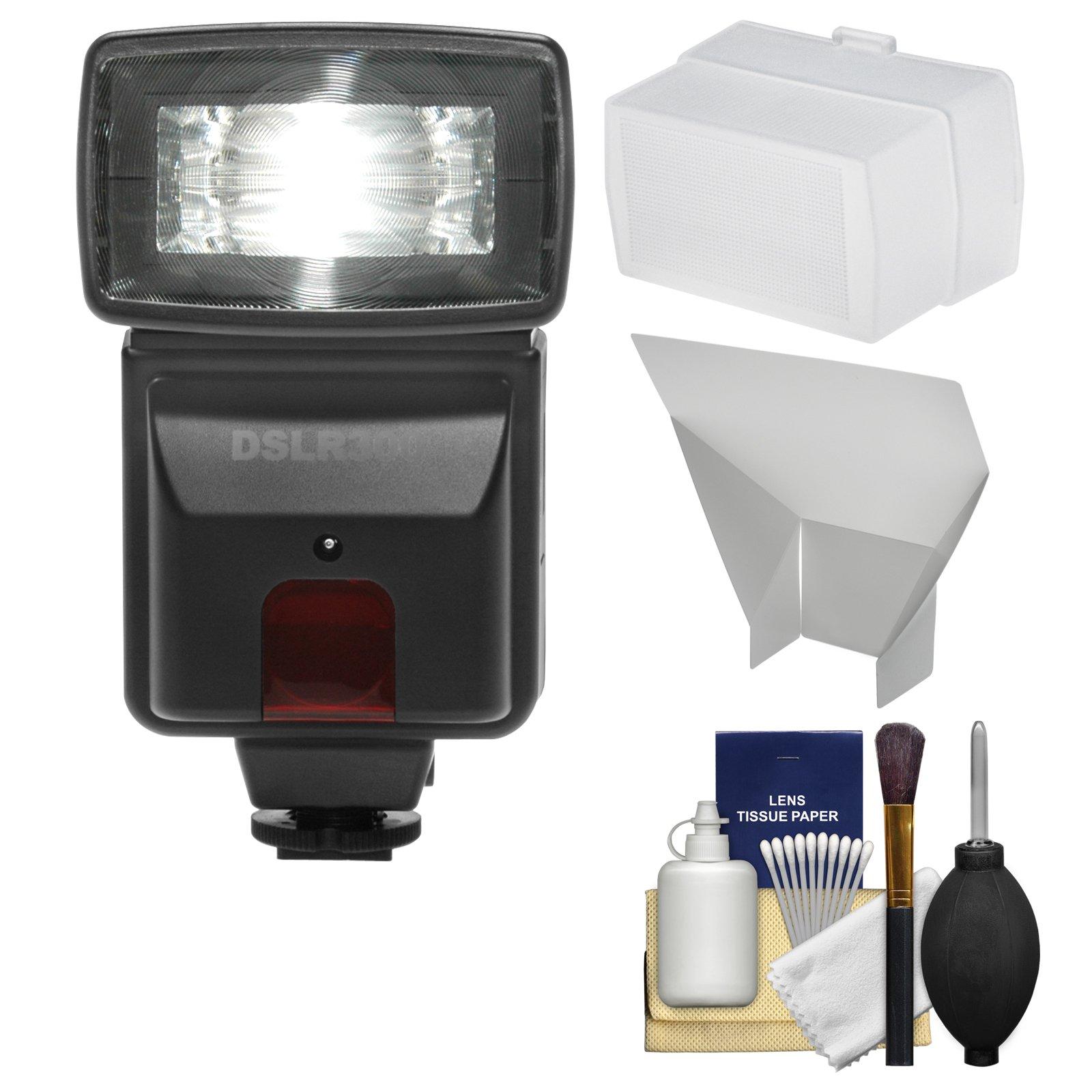 Precision Design DSLR300 High Power Auto Flash with Diffuser + Reflector + Kit for Nikon D3200, D3300, D5300, D5500, D7100, D7200 DSLR Cameras