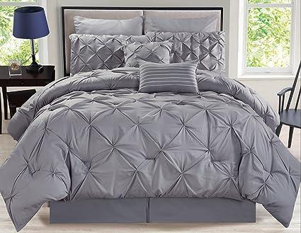 Comforter Sets Queen.Amazon Com Kinglinen 8 Piece Rochelle Pinched Pleat Gray
