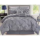 8 Piece Rochelle Pinched Pleat Gray Comforter Set Queen