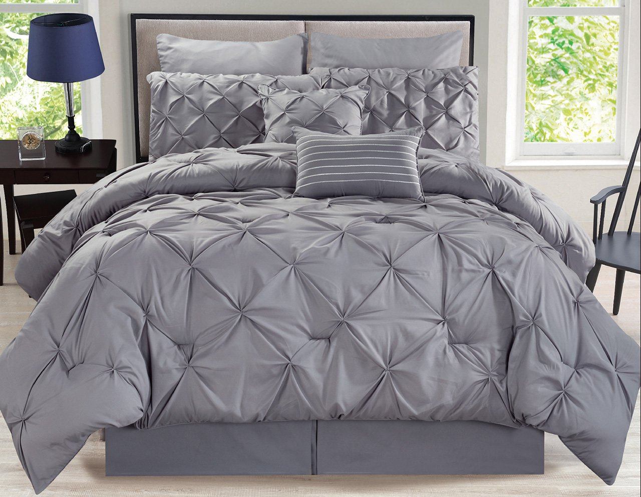 8 Piece Rochelle Pinched Pleat Gray Comforter Set Cal King