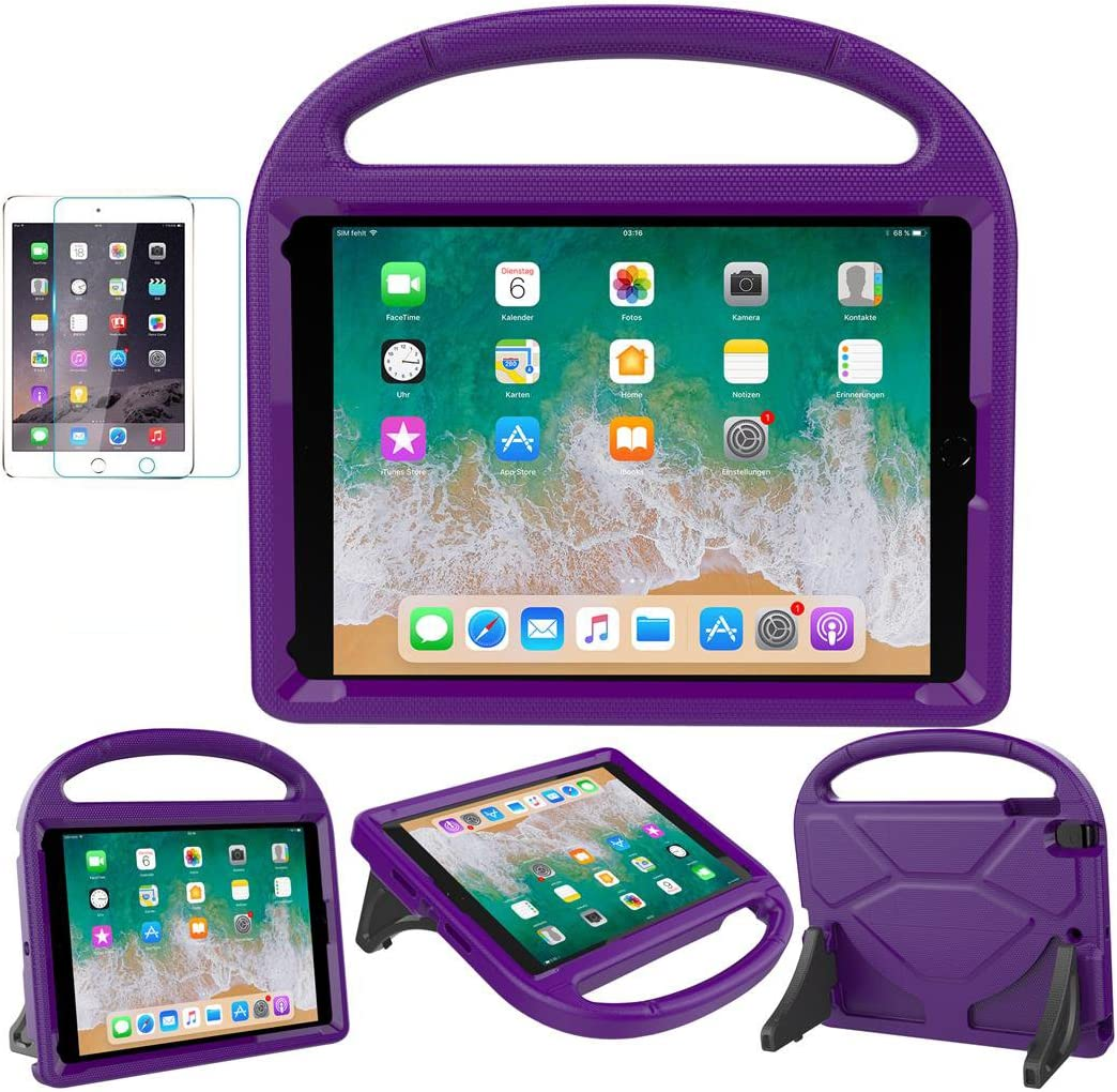 iPad 9.7 2018 / 2017 / Air 1/2 / Pro 9.7 Case for Kids - SUPLIK Duable Shockproof Protective Handle Bumper Stand Cover with Screen Protector for iPad 9.7 inch 5th/6th Generation, Purple