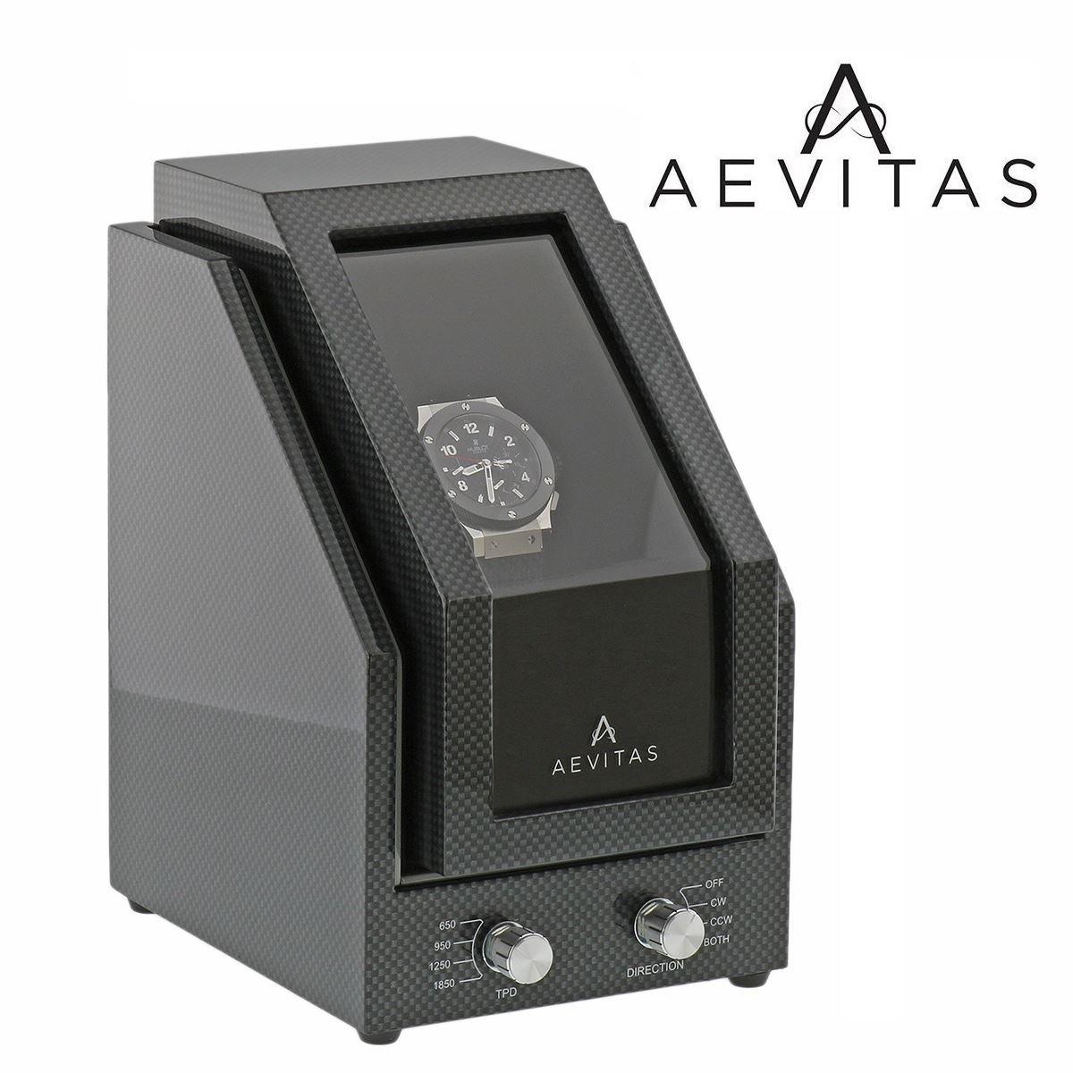 Brand New Watch Winder for 1 Watch Carbon Fibre Finish Black Velvet interior Premier Range by Aevitas