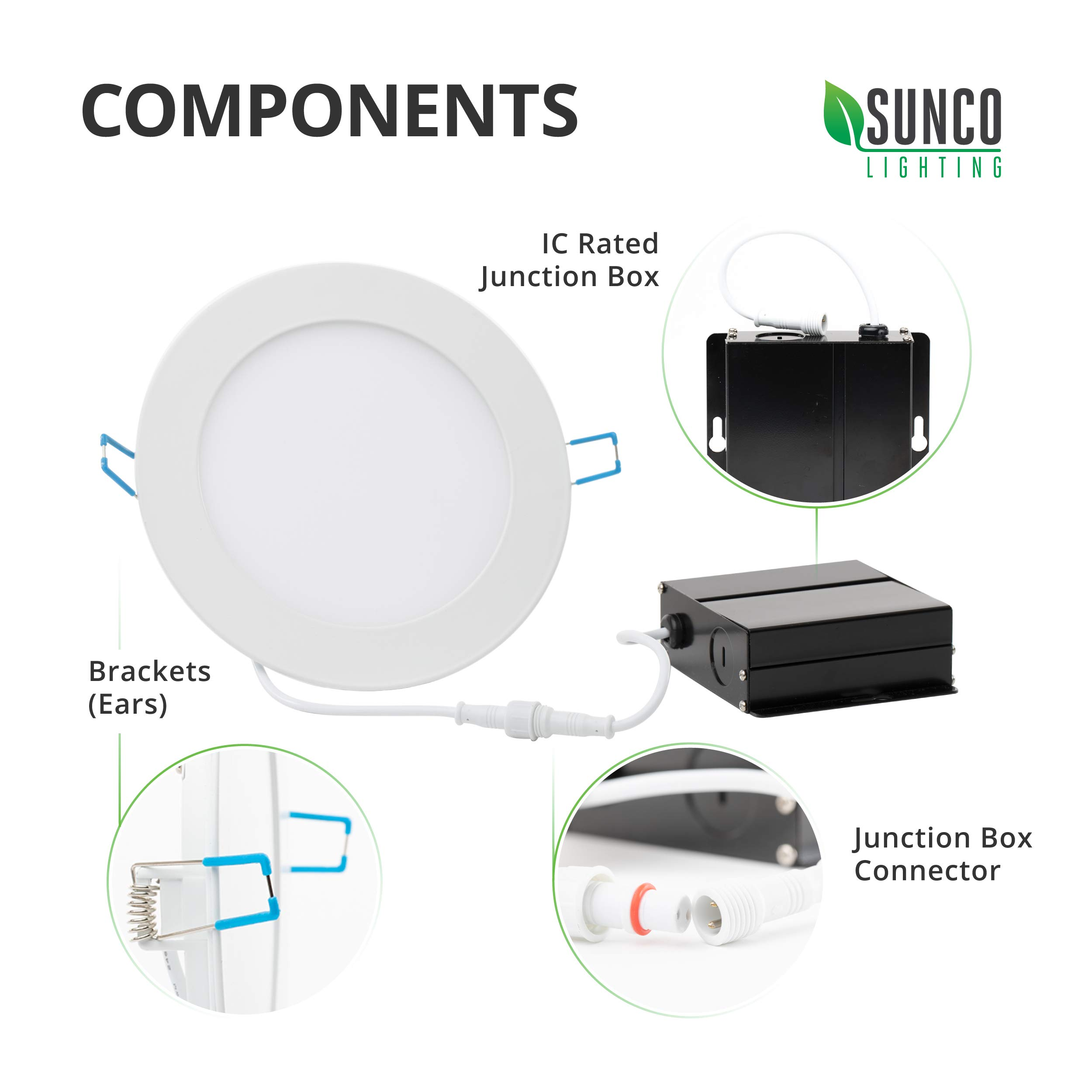 Sunco Lighting 12 Pack 6 Inch Slim LED Downlight with Junction Box, 14W=100W, 850 LM, Dimmable, 4000K Cool White, Recessed Jbox Fixture, Simple Retrofit Installation - ETL & Energy Star by Sunco Lighting (Image #8)
