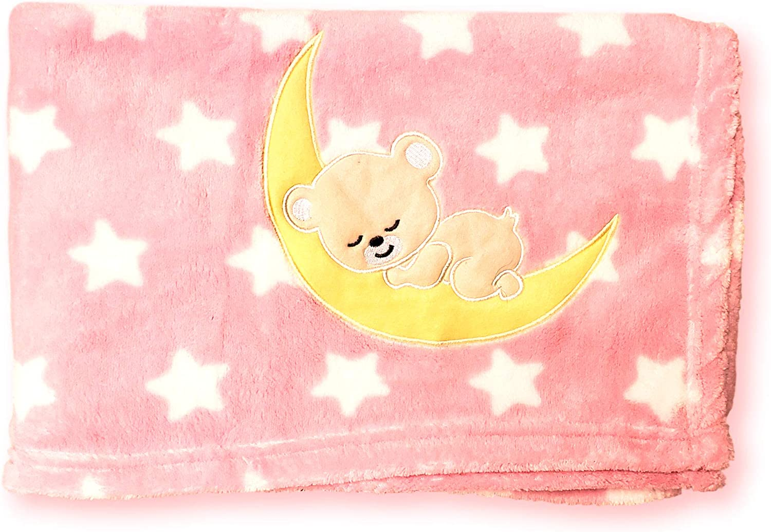 Fleece Newborn Baby Ultra Soft /& Cuddle Blanket with Embroidered Applique Little Bear on The Moon