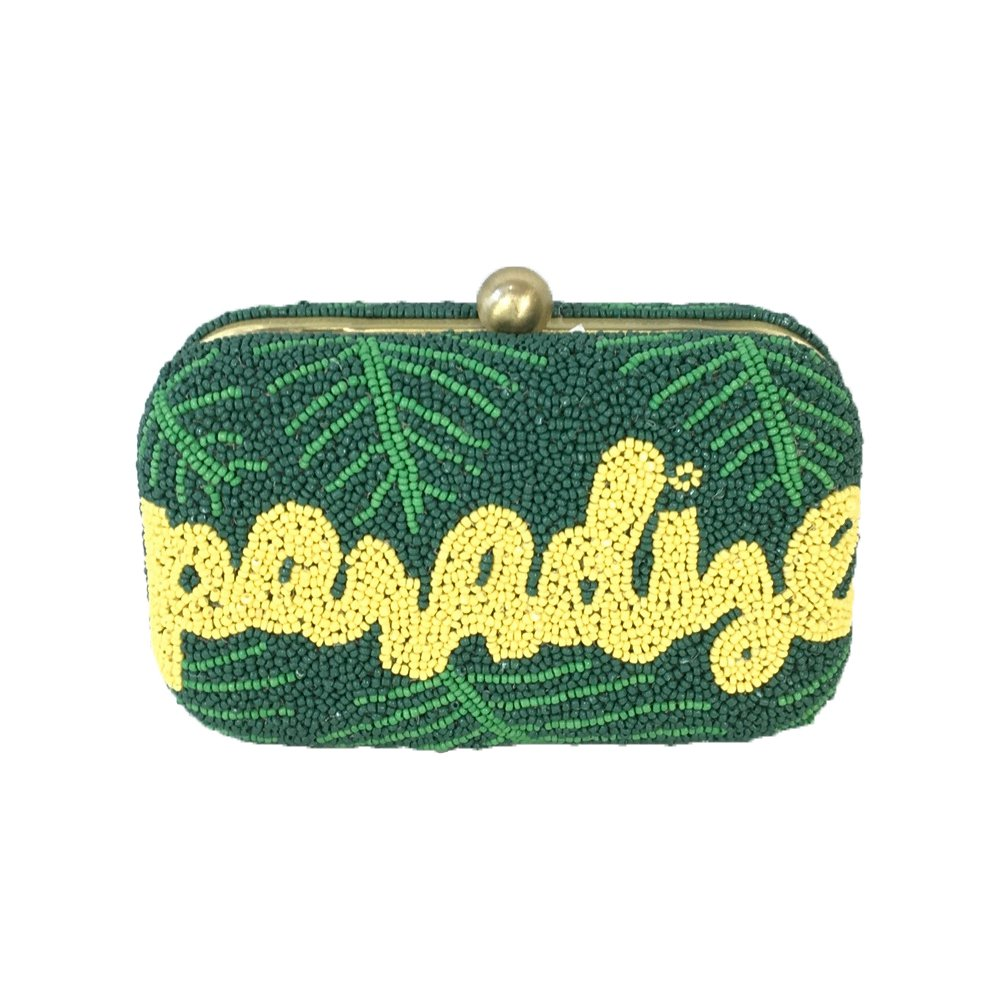 From St Xavier Paradise Beaded Box Clutch, Green Multi