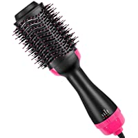 Hot Air Brush, One Step 2-in-1 Hair Dryer & Styler & Volumizer Multi-functional Straightening & Curly Hair Brush with Negative Ions, Salon Styling 110V, UL Swivel Wire