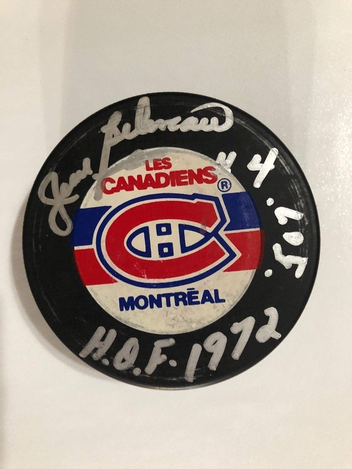 Jean Beliveau Autographed Signed Canadiens Puck withInsc 507 Hof1972 Beckett Cer E29070