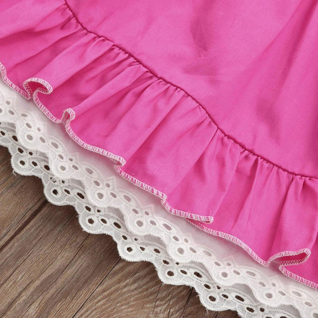 Leegor Baby Girls Infant Kids Lace Sundress Solid Clothes Sleeveless Princess Casual Dress