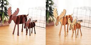 T-shin Wooden Elk Decoration Ornaments,4-Pack Xmas DIY Reindeer Decor,Wood 3D Reindeer Ornaments for Home Kitchen Office Desk