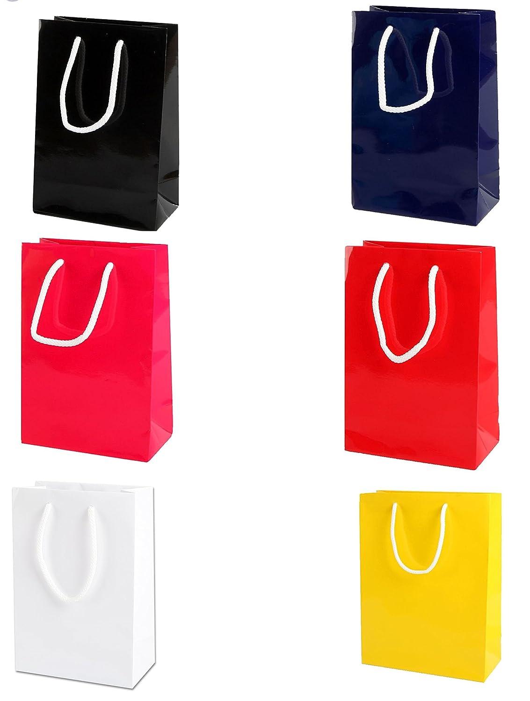 150x220x80mm Thepaperbagstore 5 Blau Kleine Gloss Papiert/üten f/ür Partys und Geschenke mit Seilgriff