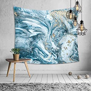 Nordic Blue Gold Marble Tapestry Wall Hanging,Dorm Décor, Polyester, 60L x 51 W Inches (150cm x 130cm)