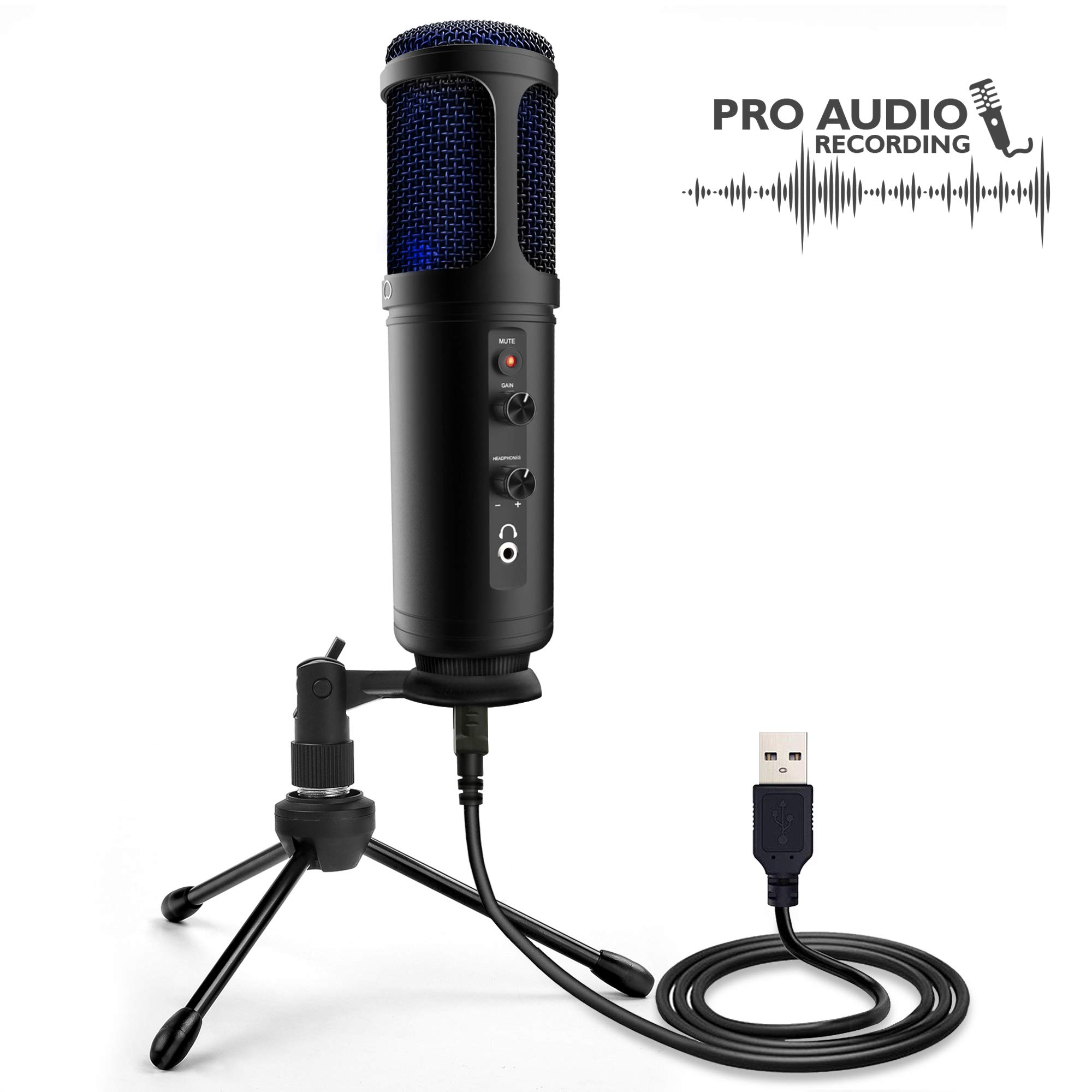 USB Plug and Play Microphone - Portable Pro Audio Condenser Recording Desk Mic w/Adjustable Gain, Headphone Jack, Mute Control, Tripod Stand for Podcast Streaming PC Gaming YouTube - Pyle PDMIUSB50