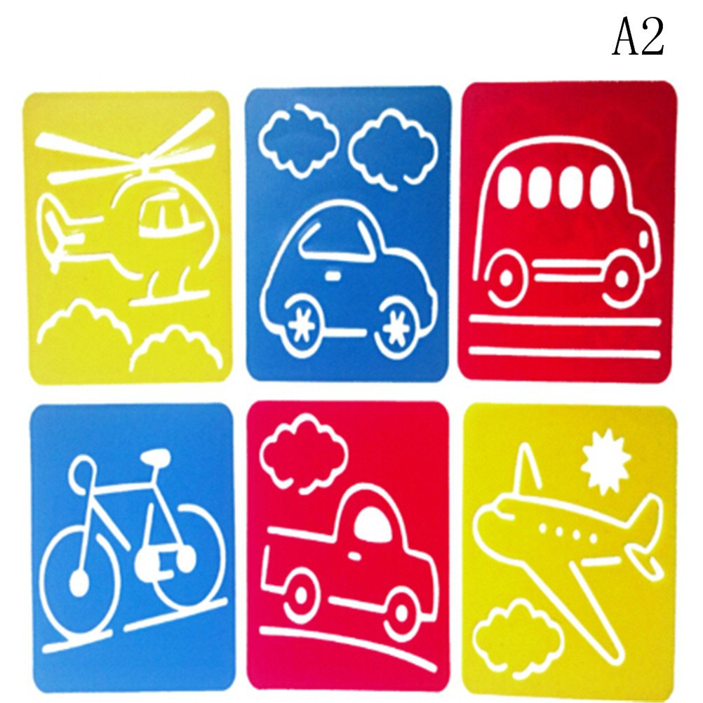 Haishell Washable Plastic Children's Drawing Template Board Set Toys Kids Painting Stencils,Transport,Pack of 6 Aqing Sea