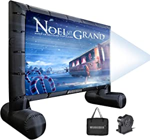 16 Feet Inflatable Outdoor and Indoor Theater Projector Screen - Includes Inflation Fan, Tie-Downs and Storage Bag - Only Supports Front Projection (16FT)