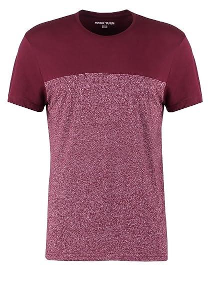 YOURTURN T-Shirt Camiseta de Hombre Moteada en Rojo, Talla M